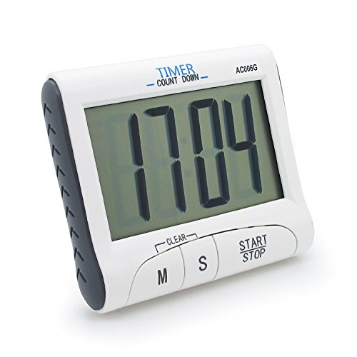 Konigswerk New Version! Large Display Electronic Digital Countdown and Count up Loud Alarm Kitchen Timer / Sport Stopwatches with Clock Function (Magnet and Stand) AC006G by Konigswerk