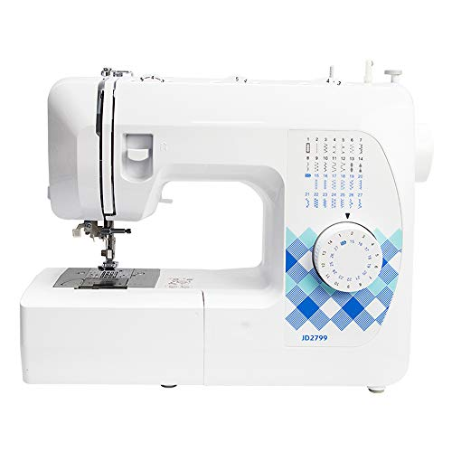 Draagbare elektrische naaimachine, huishouden 27 steken Heavy Duty naaimachine met voetpedaal en LED-verlichting, borduurwerkoverlock Snelle naaimachine Huishoudelijk naaigereedschap