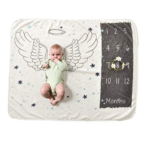 Baby Meilenstein Decke Flanell Engel Flügel Unisex Kleine Größe 70 Cm X 102 Cm, Diligencer Neugeborenen Monatlichen Meilenstein Decke Für Mädchen Jungen (Kranz Prop Geschenkartikel)