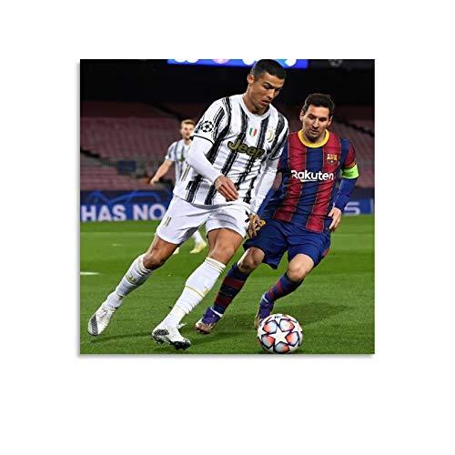 SHADIAO Póster de Lionel Messi, Cristiano Ronaldo's Último jugador de fútbol Deportes Póster en lienzo y arte de la pared, impresión moderna para dormitorio familiar de 30 x 30 cm