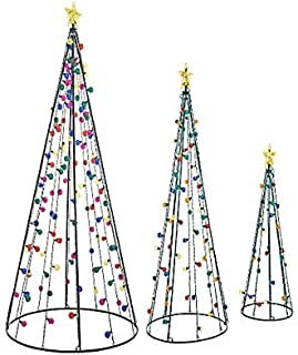 VH&G Set of 3 - Light-Up Twinkle String Cone Tree, 7, 5, and 3 Feet Tall - Multi-Color Twinkling Lights