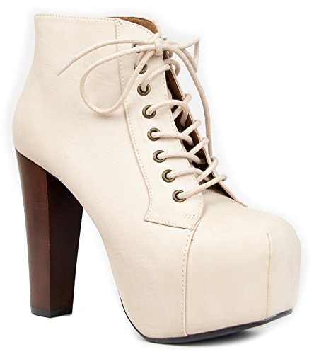 Speed Limit 98 Womens Rosa Chunky High Heel Lace Up Ankle Boot Bootie, Color:BlackPu,Size:8