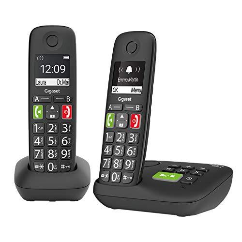 Gigaset E290A - 2 Schnurlose Senioren-Telefone mit Anrufbeantworter und großen Tasten - großes Display, Zielwahltasten für wichtige Nummern, Verstärker-Funktion für extra lautes Hören, schwarz
