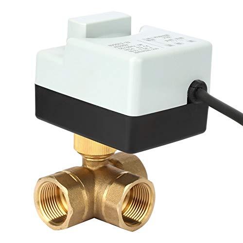 Válvula de bola motorizada, mantenimiento conveniente Válvula de bola de latón, duradera con estructura de interruptor manual para calefacción, ventilación, sistemas de automatización de