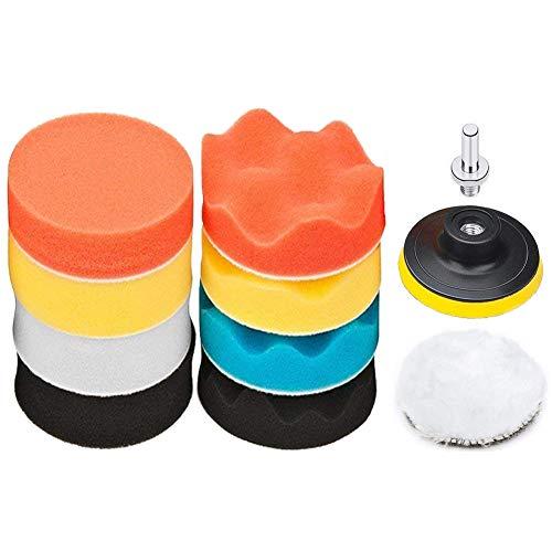 Dimoxii Esponja de Pulido Coche 11pcs Set de Almohadillas Para Pulir Almohadillas kit de Ajuste con Taladro Adaptador para Coche (Esponja pulidora de 3 pulgadas)