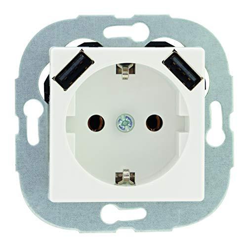 REV Ritter 0236130106 REV Quadro 2fach USB Kombi 2,1 Ampere weiß Steckdosen