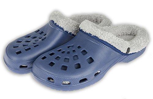 VIVA Winterclogs Gr.36-45 Clogs Unisex - gefüttert Hausschuhe Gartenschuhe Schuhe (42, Blau-Grau)