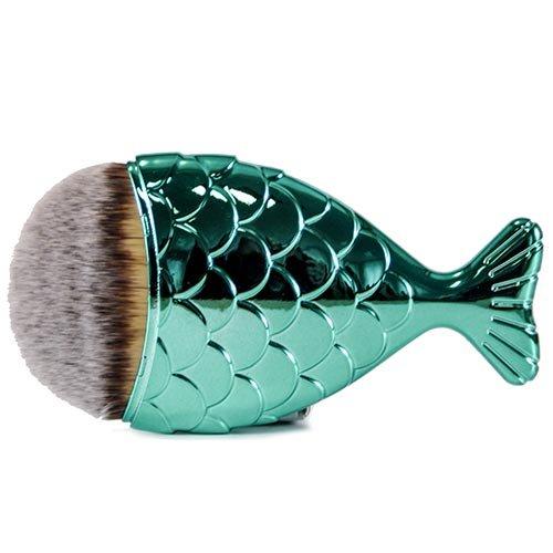Fantasia Pinceau de maquillage exclusif végétalien en forme de poisson pour poudre et fond de teint en bleu océan avec poils de toray fins Longueur : 11 cm