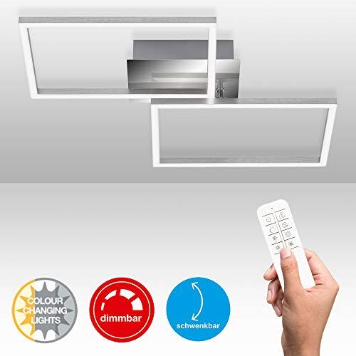 Briloner Leuchten - LED Deckenleuchte, Deckenlampe dimmbar, inkl. Fernbedienung, inkl. Farbtemperatursteuerung, inkl. Nachtlichtfunktion und Timer, Chrom-Alu, 500 x 388 x 78mm (LxBxH)