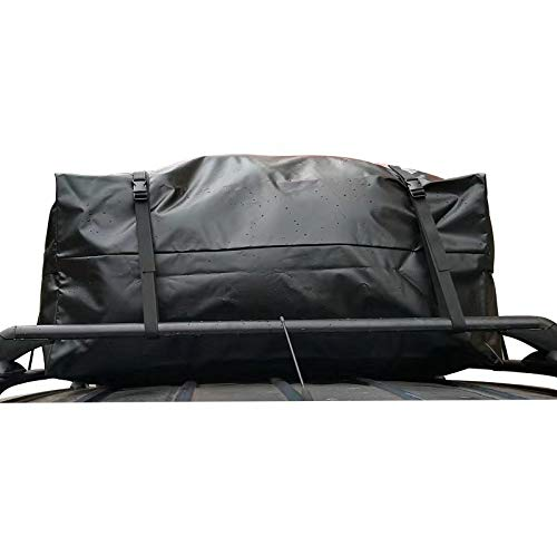 Waterproof Car Roof Top Cargo Carrier Bag with 6 Heavy-Duty Straps and Buckles | Weatherproof Luggage Roofbag for Rooftop Racks | Car Topper Bag for Sedan, SUV, Vans & More (17 Cubic Feet)