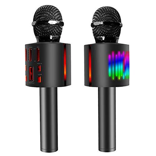 Karaoke Mikrofon, Drahtloses Bluetooth Mikrofon mit Steuerbaren Tanzen LED Leuchten, 4-in-1 Handheld Microphone für Kinder Erwachsene, Heim KTV Player mit Lautsprecher, Kompatibel mit Android/IOS/PC