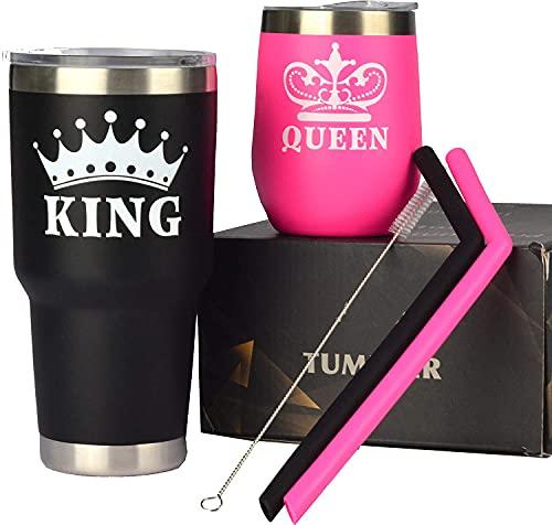 King & Queen Tumbler Set,King Queen Glass,King and Queen Cups for Couples,Couple Tumbler Set,Queen King Tumbler,King Queen Coffee Mug Set,King Queen Gifts,King Queen for Couples,Anniversary Gift