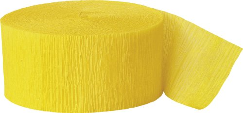 Unique 6305 Bright Yellow Crepe Paper Streamers, 81 ft. 1 ct.