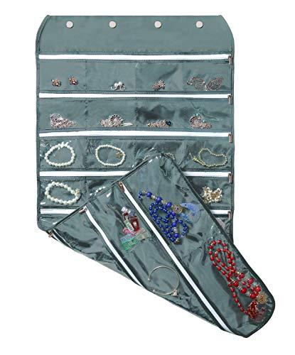 BB Brotrade Hanging Jewelry Organizer with Oxford Dual Side 56 Zippered Storage Pocket(Grey with Zipper)