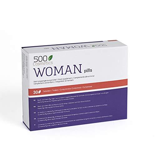 500Cosmetics Woman–Tabletas Naturales Para Aliviar los Síntomas de la Menopausia, Regulación Hormonal y Aumento de la Líbido-Ingredientes Naturales-1 toma diaria-Fabricado y Registrado en la UE (1)