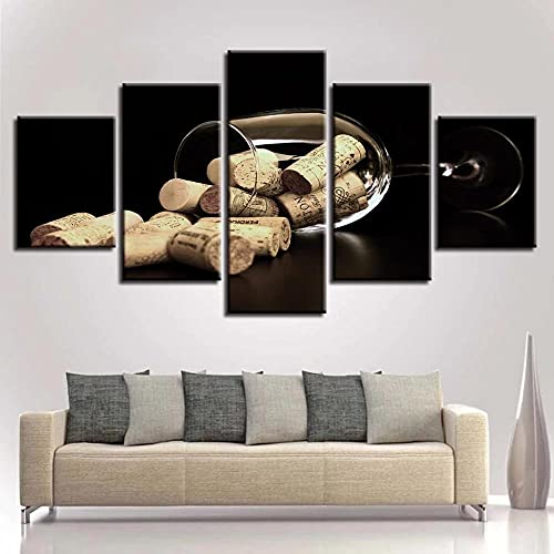 WFDYDDP 5 Pintura en Lienzo Copas de Vino y Corcho - Impresión de Lienzo de Pared Cuadros estirados for Salon Baño Comedor Decors Obras Arte_200x100cm_with Frame
