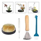 WANDIC Juego de 4 piezas de flores Ikebana soporte redondo para flores y herramienta de alisado de agujas y cepillos de limpieza para arreglos florales