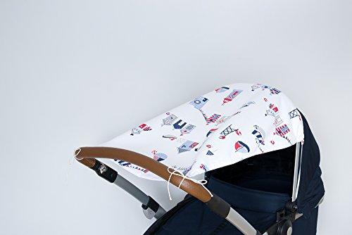 KraftKids Sonnensegel Strandhäuschen, UV-Sonnenschutz für jeden Kinderwagen, handgenäht und luftdurchlässig, Länge: 65 cm, Breite oben: 50 cm Breite unten: 32 cm