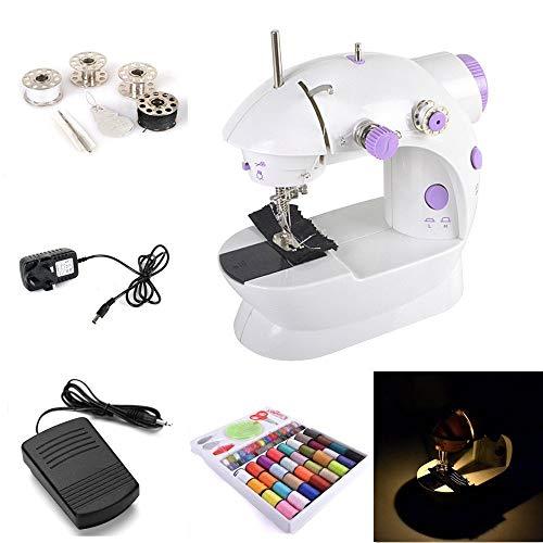 WYJW draagbare kit voor elektrische naaimachine met 2 punten (laag/hoog) met mini-stopcontact + 4 dozen / naald / insteker / voetpedaal / naaigereedschap 100-in-1