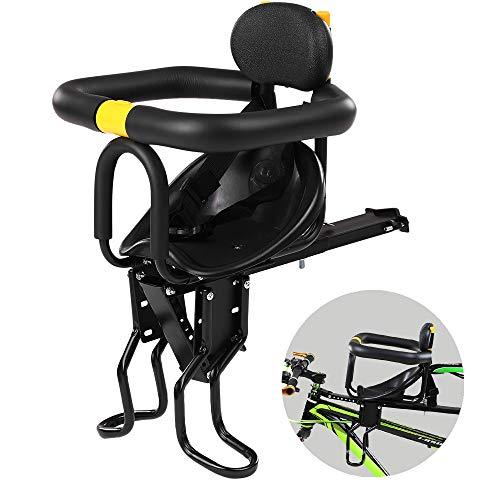 Asiento de Seguridad para niños Asiento Delantero para Bicicleta Sillín Infantil Portabebés para Bicicleta con Pedales Respaldo Negro hasta 25 kg De 8 Meses a 7 años