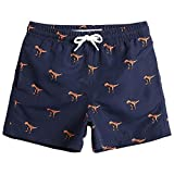 MaaMgic Badehose für Baby Kinder Junge mit Fisch Dinosaurier Streifen Ananas Flamingo Tarnung Badeshorts für Baby Kinder MEHRWEG (5-6 Jahre alt, Navy Blau Dinosaurier)