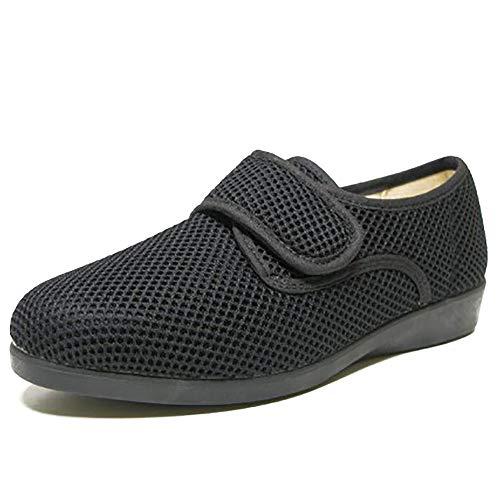 Zapatillas casa y Calle Mujer DOCTOR CUTILLAS,Tejido Verano Negro,Cierre Velcro.Mod.10201 (Negro, Numeric_39)