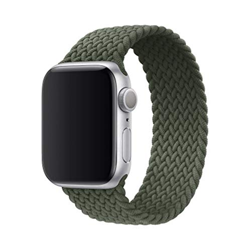 MPWPQ Newest Charcoal Braided Solo Loop watch band For Apple Watch 1 2 34 5 6 iwatch 38mm 42mm 40mm 44mm nylon watchbands strap Watch strap (Color : Army green, Size : S(38mm or 40mm))