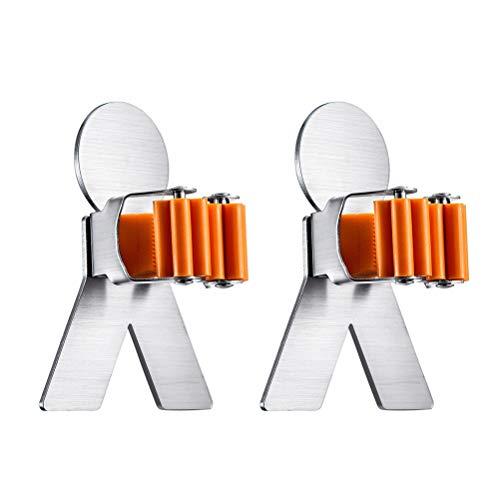 OUNONA 2 soportes para escobas y cepillos de pared de acero inoxidable...