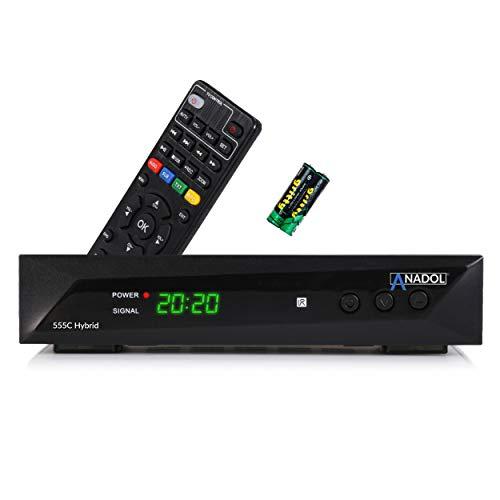 Anadol 555c - Hybrid DVB-T2 / DVB-C HDTV Kabel Receiver - PVR Aufnahmefunktion und Timeshift - Full HD Mediaplayer HDMI + USB - Digitaler Hybrid Receiver - lernbare Fernbedienung