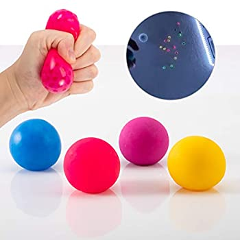4 Pack Fluorescent Sticky Target Anti Stress Reliever Balls- Globbles Squish Fidget Stress Sticky Wall Balls in 4 Colors Pressure Anxiety Relief Toys for Both Kids & Adults  Washing Before Using