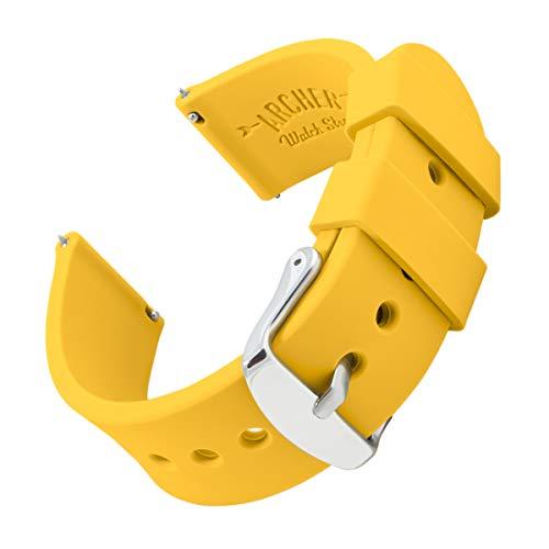 Archer Watch Straps - Uhrenarmbänder aus Silikon mit Schnellverschluss - Neapelgelb, 24mm