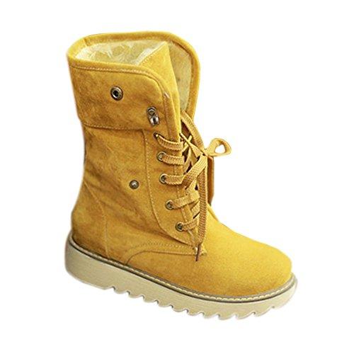 Minetom Damen Stiefeletten Matte Wildleder Stiefel Schnee Winter Fur Boots Winterstiefel Warm Casual Flats Bequeme Boots ( Gelb EU 40)