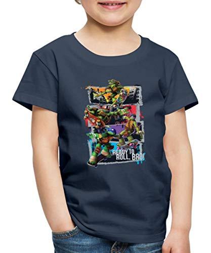 TMNT Turtles Leo Donnie Raph Mikey Fahren Skateboard Kinder Premium T-Shirt, 134-140, Navy
