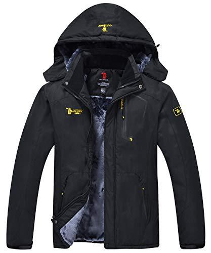 donhobo Herren Winter Fleecejacke Warm Jacke Softshelljacke Atmungsaktiv Outdoor Skijacke Winddichte Wasserdicht Funktionsjacke(Schwarz,S)