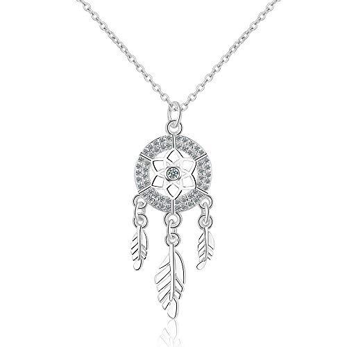 Chandler Collar con colgante de plumas de atrapasueños, plata de ley 925, collares para mujer, regalo bohemio
