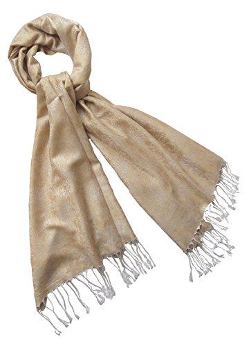 Nella-Mode Edler & Eleganter Schal, Stola; - Florales Muster; - Farbe: Hellgold/Hellsilber