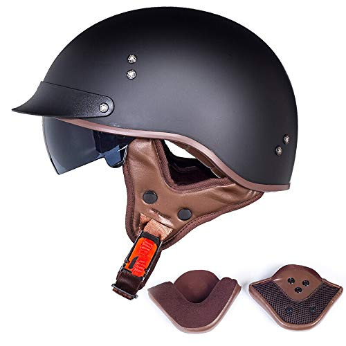Motorradhelm, Retro Harley Motorradhalbhelm Halbhelm DOT-Zertifizierung Integralhelm Cruiser Chopper Jet Helm Fahrrad Fahrradhelm (L=(59~60cm), E)