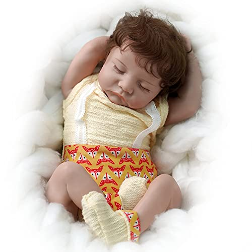 JIZHI Reborn Baby Dolls 17 Inch Real Life Baby Dolls Sleeping Realistic Newborn Baby Dolls Cloth Body Dolls Gift Set for Kids Age 3+