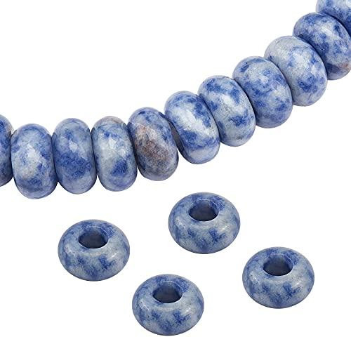 SUNNYCLUE 1 Caja 15 Piezas Jaspe de Punto Azul Natural Granos de Agujero Grande Europeos Espaciador de Cristal Suelto Cuentas Suaves para Encantos de Joyería Pulsera DIY Joyería Hecha A Mano Collar