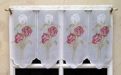 Rideau Brise bise Etamine 34 cm Blanc Brodé