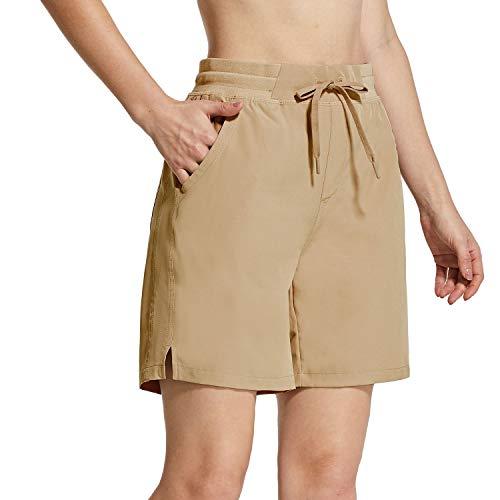 "BALEAF Women's 7"" Hiking Shorts 5 Pockets Quick Dry UPF 50+ Stretch Workout Shorts for Camping, Travel, Running Khaki Size M"