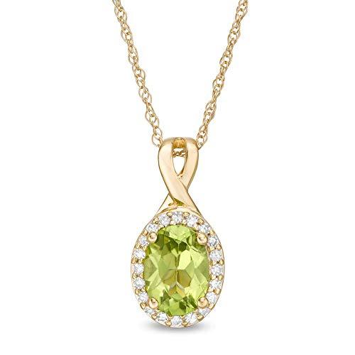 Colgante con forma de peridoto ovalado de 7 x 5 mm y 1/10 CT. T.W. D/VVS1 con marco de diamante para mujer en plata 925 chapada en oro amarillo de 10 quilates