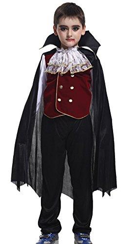EOZY Déguisement Vampire Halloween Garçons 4-6 Ans Costume Vampire Carnaval Cosplay Tenue pour Enfant Ensemble Haut + Pantalon + Cape