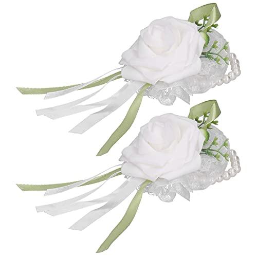 Ramillete de muñeca, flor de muñeca, cómodo de llevar, exquisita mano de obra, todo a la moda para fiestas de baile, decoración(blanco)