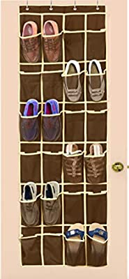 SimpleHouseware 24 Pockets Over the Door Hanging Shoe Organizer, Brown (64'' x 19'')