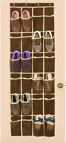 Simple Houseware 24 Pockets Over The Door Hanging Shoe Organizer Brown 64 x 19