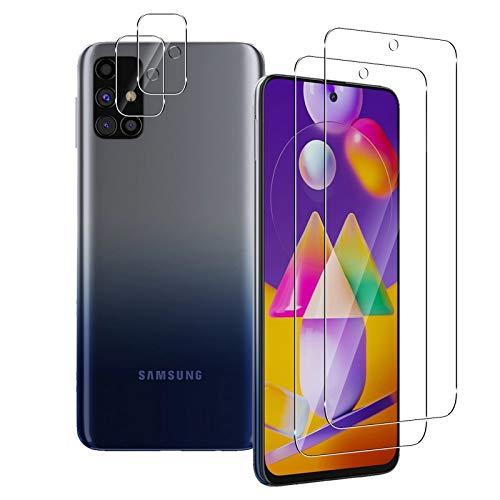 Aerku Pellicola Vetro Temperato per Samsung Galaxy M31s + Pellicola Fotocamera [2+2 Pezzi], 9H 2.5D Ultra Sottile HD Anti Graffi Trasparente Pellicola Protettiva per Samsung Galaxy M31s