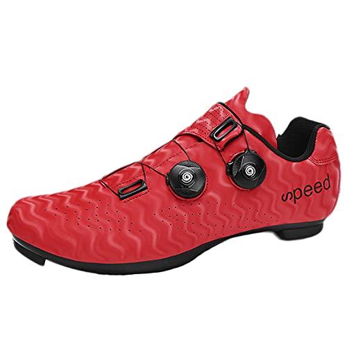 Koyike Scarpe da Ciclismo con Stampa ad Onde,Traspirante Anti Scivolo Scarpe da Bici da Corsa,Facile Pattini con Fibbia Rotante,Unisex,per BMX MTB Discesa Gara su Strada (Color : Red, Size : 43 EU)