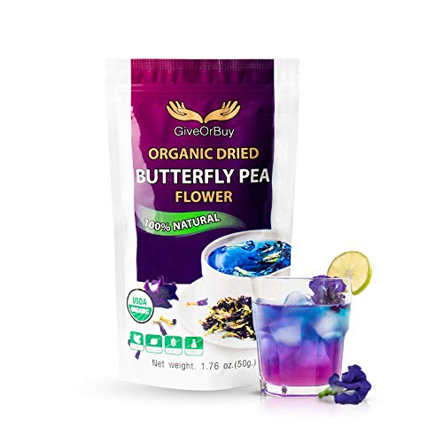 Butterfly Pea Flower Tea 1.75 oz - Organic Vegan Rich Healthy Herbal Butterfly Pea Tea - Blue Tea Flowers for Drinks, Food Coloring By GiveOrBuy