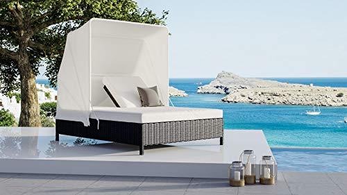 ARTELIA - Noralda Polyrattan Loungemöbel - Gartenmöbel-Set für Garten, Terrasse, Sonnenliege Rattan, Wintergarten und Balkon, Sonneninsel Gartenmöbel Ocean Grau